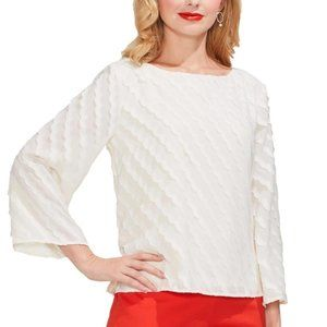 Vince Camuto Ivory Scalloped Striped Top XL